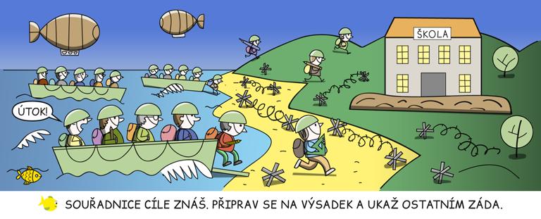 Žáci se vyloďují na opevněné pláži a berou ztečí nedalekou školu.